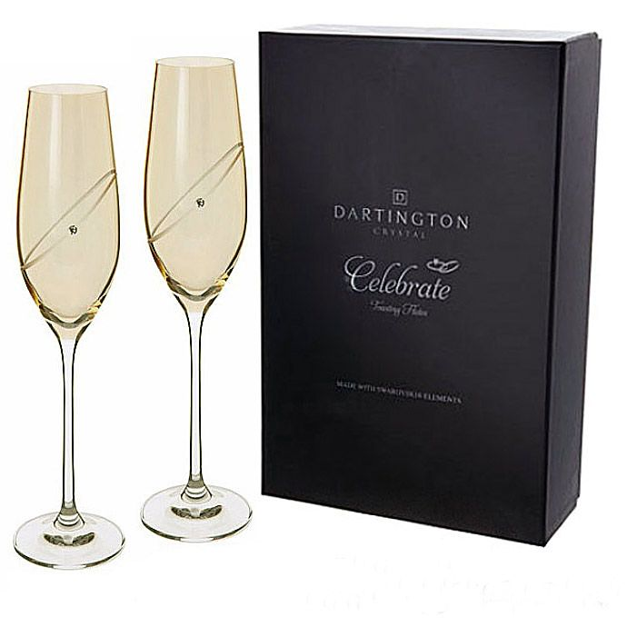 38e45dcc1a2 Dartington Crystal Champagne Flutes Golden with Swarovski crystals  PERSONALISED ENGRAVED ref DGCFP