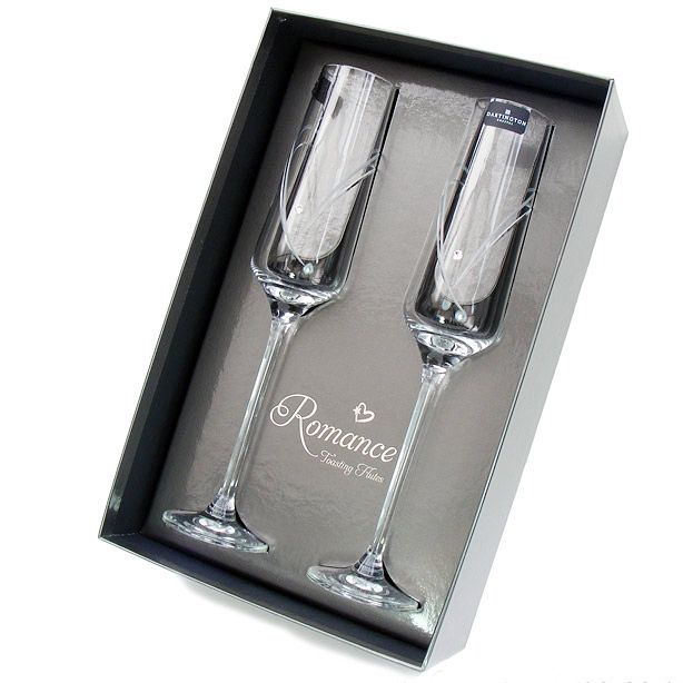 70155c9b9129 Dartington Crystal Romance Champagne Flutes with Swarovski elements ...