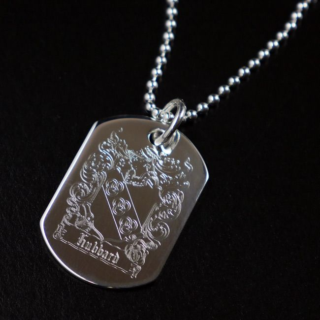 Silver dog tag pendant with family crest ref dtfc silver dog tag pendant with family crest ref dtfc aloadofball Gallery