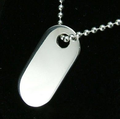Silver Oval Dog Tag Personalised Id Pendant On Bead Chain